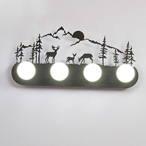 Retro mur industriel lampe lumière, le salon la chambre baignoire personnalité couloir avant miroir lampe avec ampoule, 60×30cm, trois cerfs dans la forêt, 5 watt LED lampe lumière blanc
