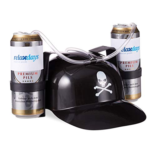Relaxdays Trinkhelm Pirat, Helm mit Schlauch, für 2 Dosen Bier, Karneval Spaß Partyartikel, Totenkopf Bierhelm, schwarz