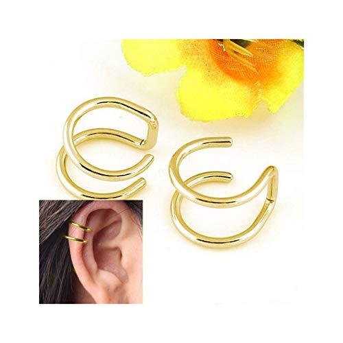 LUOSI 2 Piezas/Set Punk Simple Ear Clip Publicidad Pendientes De Envoltura para Mujer Moda Clip-on Pendientes Non-Piercing Ear Publicidad Eardo (Metal Color : Gold)