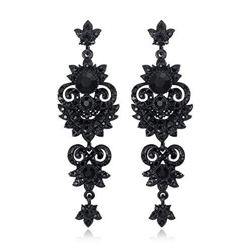 Without logo ZCPCS Pendientes Largos de la Pluma de la Vendimia cuelga los Pendientes de Cristal Negro Mujeres del ala del ángel Joyas de Moda Femenina (Metal Color : 938)