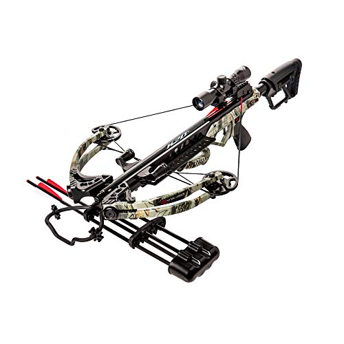 Bear Archery Karnage Apocalypse Crossbow Package Includes Arrows, Quiver, Detachable Sling, Wax, Cocking Rope, and Scope, Camo, One Size