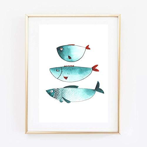 Din A4 Kunstdruck ungerahmt - Fische Fisch Trio Naive Malerei türkis Badezimmer Aquarell Geschenk Druck Poster Bild