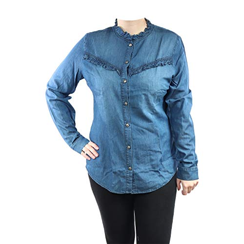 Tramontana Damen Bluse Chambray Ruffle Q0188301 (5003 Blue Denim, XL)
