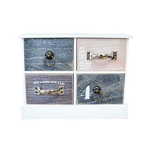 DRULINE Mini Kommode Schubladen Ablagefläche Schmuckkasten mit Stauraum zur Aufbewahrung aus Holz 4 Fächer Breit Schlafzimmer Wohnzimmer Platzsparend | LHC40W | L x B x H 27 x 11 x 21 cm | Weiß Natur