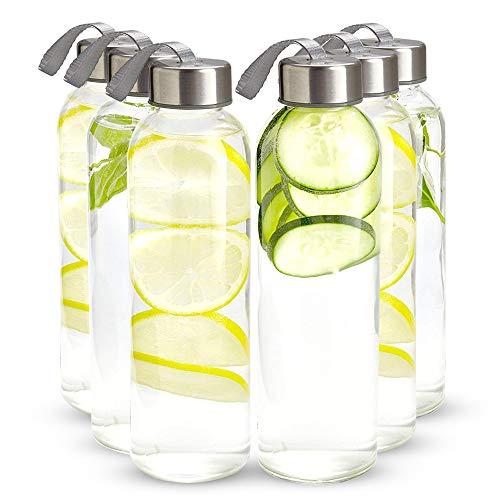 16 Ounce Glass Water Bottles, Pack of 6 Reusable Water Bottles...
