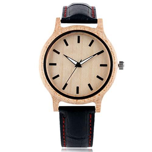RWJFH Reloj de Madera Correa de Cuero Negro para Hombre Relojes de bambú de Madera Natural Reloj de Pulsera de Cuarzo Arce Ligero Creativo para Mujer, Puntada roja