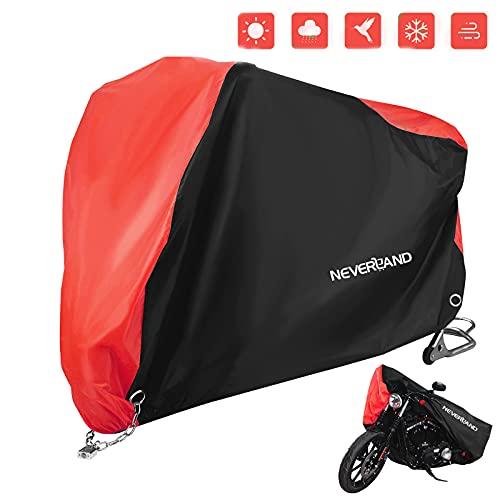 Neverland Telo Coprimoto,Impermeabile Telo Moto Cover con Tessuto Oxford 201D Telo Copri Moto Scooter Esterno Universale Copertura Moto Protetto contro Neve Vento Polvere Pioggia Grandine XL