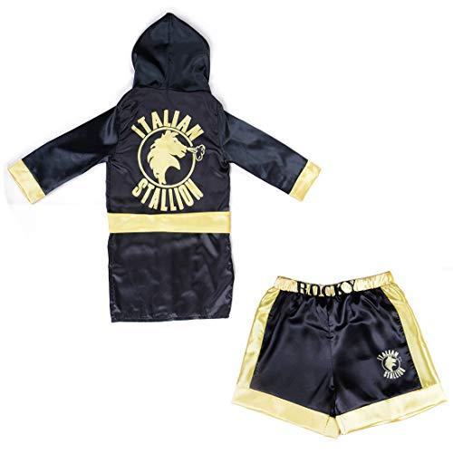 Boys Boxing Champion Costume Hooded Boxing Robe Set Kids Halloween Fancy Dress (Black Robe + Shorts, S)