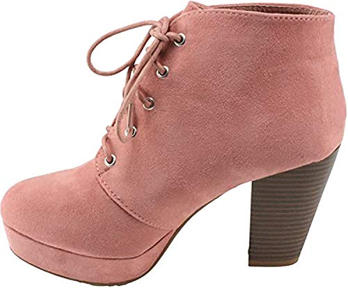 Forever Camille-86 Women's Comfort Stacked Chunky Heel Lace Up Ankle Booties (Dusty Pink, 6.5)