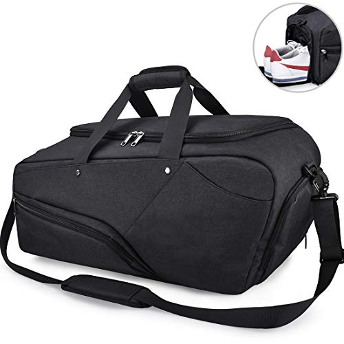 NUBILY Gym Bag Sports Duffle Bag with Shoe Compartment Waterproof...