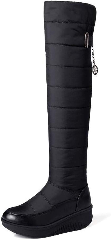MHCDXGN Stivali da Donna sopra Il Ginoc o, Fondo Spesso Caldo E Velluto Autunno E Inverno Moda Stivali da Neve Casual