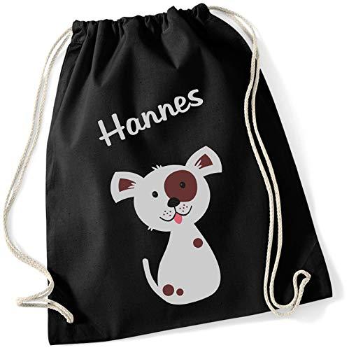 Gymtas met naam | motief hond hondje puppy | gepersonaliseerd & bedrukt | stoffen zak schoentas sporttas voor kinderen jongens en meisjes | incl. NAMENSDRUCK | zwart bruin grijs