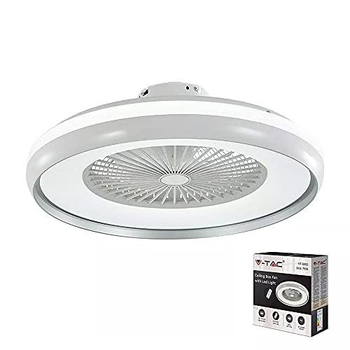 Ventilador LED de techo con motor de corriente alterna de 45 W y mando a distancia 3 en 1, color gris