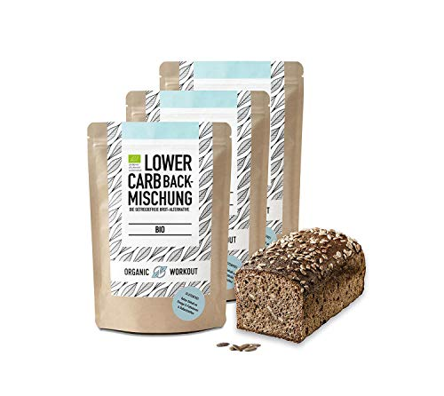 Organic Workout LOWER-CARB-BACKMISCHUNG 3er Pack – Bio, paleo, glutenfrei, Eiweiss-Brot-Alternative, ballaststoffreich, ohne Zuckerzusatz, ohne Getreide, hergestellt in Deutschland