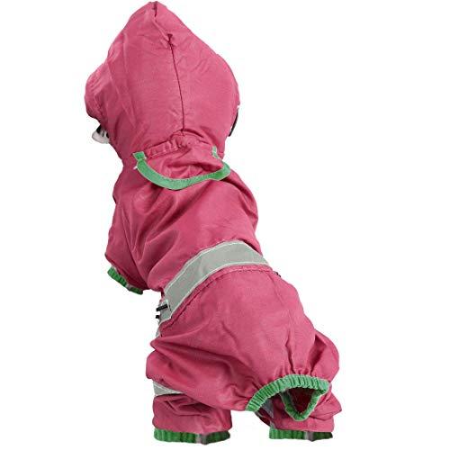 YeVhear - Pet Dog impermeable para perros, chaqueta de lluvia, poncho, ropa de poliéster para cachorro, impermeable, con capucha, resistente al agua, con banda reflectante, color rojo oscuro