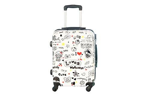 Trolley da cabina 55 cm valigia rigida 4 ruote in abs policarbonato stampato a fantasia impermeabile compatibile voli lowcost come Easyjet Rayanair art Loves Happiness (Bianco)