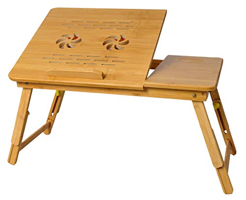 Snazzy Bamboo Wood Extra Large Height Adjustable Foldable Portable Laptop Table Working/Writting/Study/Reading/Gaming on Bed Table for Home with Cooling Fans (55 * 35 * 28-36 cm)