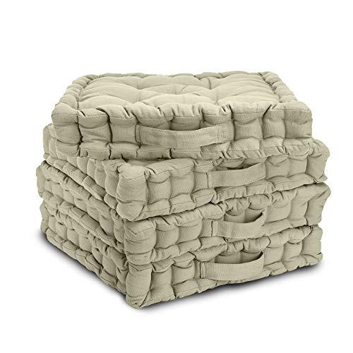 Beautissu Set di 4 Cuscini da Pavimento/Sedia Mila 40x40x8 cm Cuscino di Seduta per Interno ed Esterno con Maniglia in Beige - Imbottitura Spessa - 100% Cotone