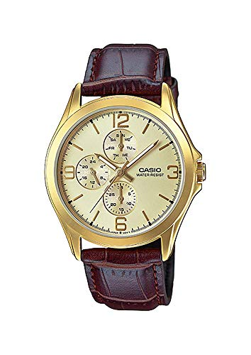 Casio MTP-V301GL-9A Men's Standard Gold Tone Leather Band Multifunction Watch