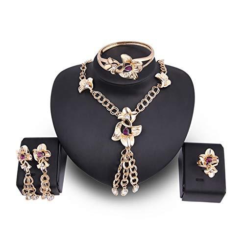 DSJTCH European and American women's fashion gem jewelry set bride dinner necklace ear ring bracelet jewelry four-piece set (Color : One size)