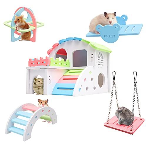 Juego de juguetes de hámster, hideout, casa de hámster de madera, juguetes de ejercicio deportivos, puente arco iris, columpio, adecuado para animales pequeños como hámster enano y hámster sirio