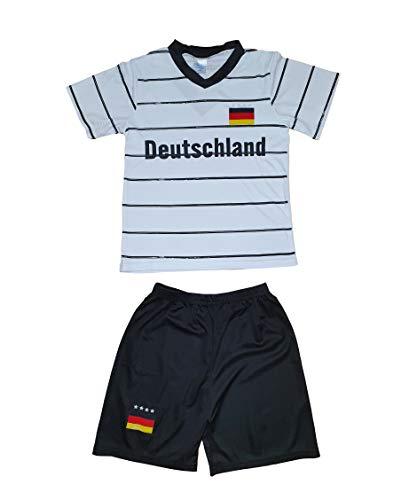 Kinder Jungen Mädchen Sommer Shirt Shorts Hose Trikot Set Deutschland Fußball Set 2 Teilig (110/116)