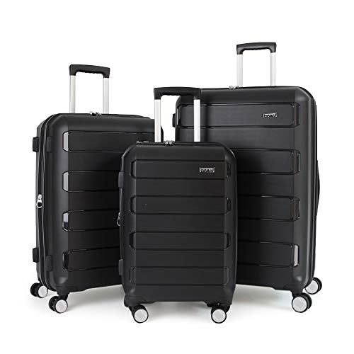 Eono by Amazon Expandable Luggage Set of 3 Piece Polypropylene Hard Shell Anti-Scratch Suitcases with 4 Spinner Wheels and Built-in TSA Lock, 55 cm, 66 cm, 76 cm, Black
