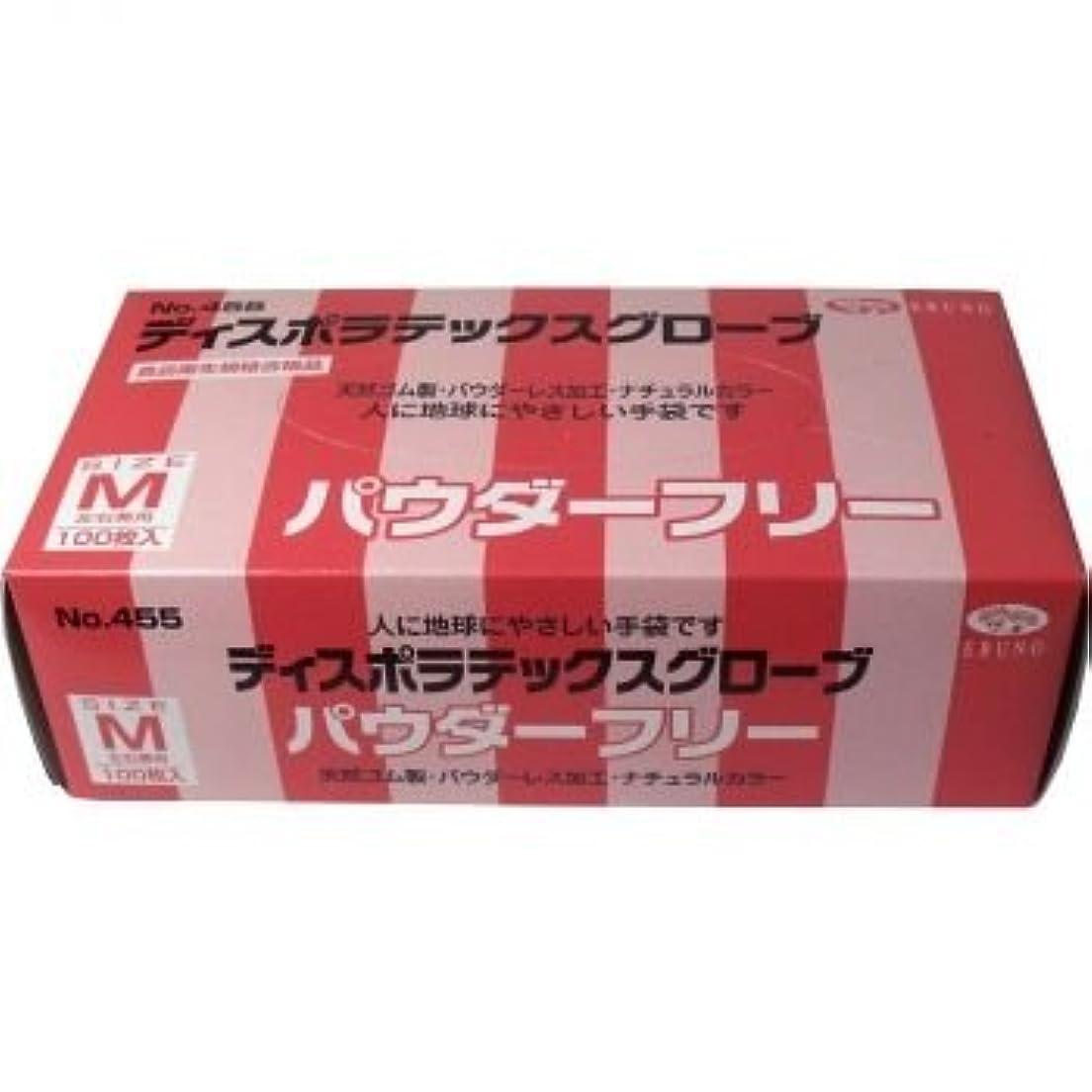 休憩抜粋正当なディスポ ラテックスグローブ(天然ゴム手袋) パウダーフリー Mサイズ 100枚入 【2個セット】