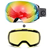 Odoland Magnetic Interchangeable Ski Goggles with 2 Lens, Large Spherical Frameless Snow Goggles for Men & Women, OTG and UV400 Protection, Black Frame, Mirror Red and Yellow Lens