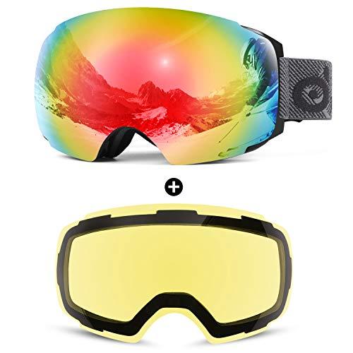 Odoland Skibrille Ski Goggles für Damen und Herren Jungen Rahmenlose Snowboardbrille mit Magnetische Wechselglas OTG Design UV-Schutz Helmkompatible zum Skifahren Silbrig VLT 10%+ Gelb VLT 83%