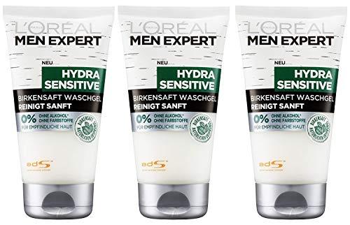 L'Oréal Men Expert Hydra Sensitive Waschgel, mit Birkensaft reinigt sensible und empfindliche Männerhaut spendet Feuchtigkeit ohne Alkohol (3x 150ml)