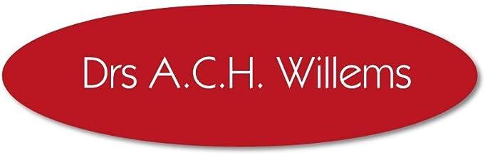 Naamplaatje rood ovaal t.b.v. brievenbus, 10x3 cm