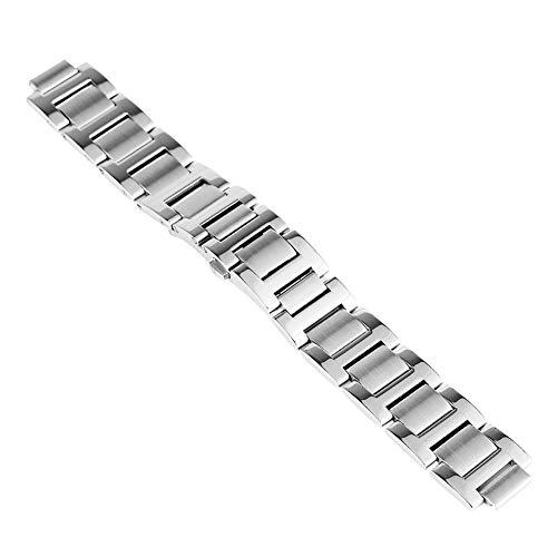 RHBLHQ Correa de Acero Inoxidable de Plata 9 mm 11 mm 12 mm botón pulsador Oculto Pulsera (Band Color : Silver, Band Width : 12mm)