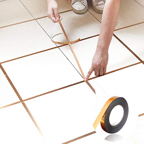 Outgeek 50m Home Tile Sticker Waterproof Gap Sealing Tape Strip Tile Decoration for Floor,Wall Graphic Arts, Car and Boat Trim (Gold)