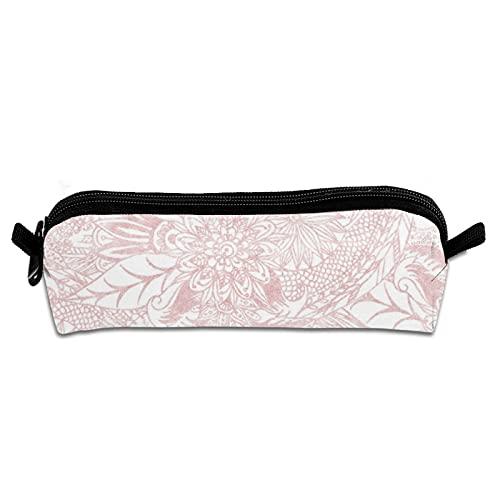 Estuche para lápices de oficina, portátil, bolsa de almacenamiento de lona, bolsa de maquillaje, para estudiantes escolares, niños y niñas, elegante, imitación de oro rosa floral mandala