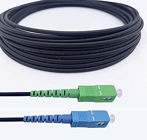 Elfcam® - Câble à Fibre Optique en Acier Blindé Compatible avec Freebox, Convient aux Installations Extérieur et Intérieur, SC/APC à SC/UPC Monomode Noir, 15M