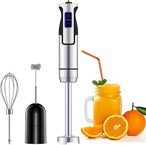 Mixeur Plongeant, 3 In 1 Multifunction Blender (milk Frother And Whisk) Turbo Design And 8 Speed 500w Stainless Steel Hand Mixer For Making Smoothies Puree Baby Food Etc