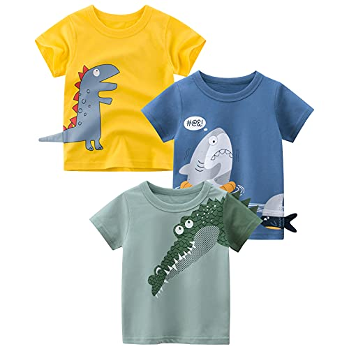 Padgene 3 Piezas de Ropa, Camiseta de Algodón de Manga Corta, Tops Estampado de Dibujos Animados, Camiseta de Cuello Redondo para Niños Muchachos Chicas