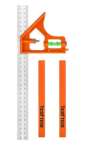 TICOFTECH 12-Inch Combination Square, Inch/Metric Stainless Steel Ruler, Protractor Level Measure Measuring Set with Carpenter Pencils