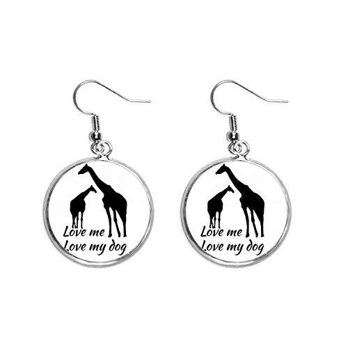 Pendientes colgantes de plata con diseño de jirafa y jirafa, para mujer