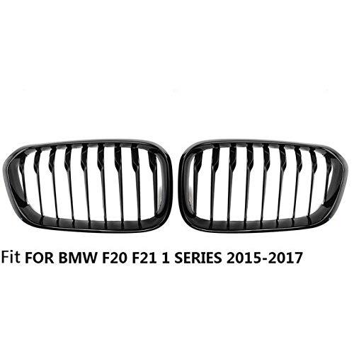 Autorennen-Grills Paar Frontstoßstange Kidney Roste Fit For BMW F20 F21 1 Series 2010 2011 2012 2013 2014 Car Styling 2 Slat Linie Glanz Matt Schwarz, Vorder Ierengitter (Color : Gloss Black 1 Slat)