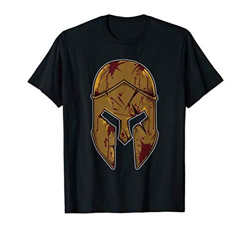 Spartan Helmet with War Signs | Greek Mythology Warrior T-Shirt