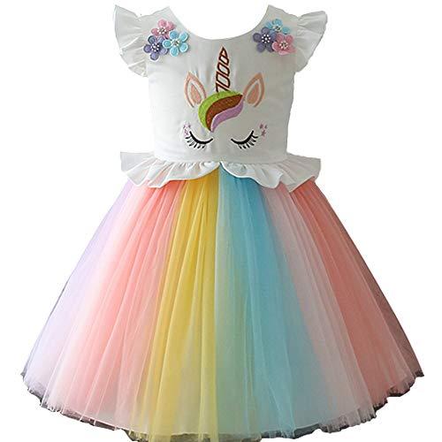 yeesn Niñas Princesa Unicornio Arcoiris Tutu Traje Vestido de Baile de Tul Verano sin Mangas Cosplay Fiesta de cumpleaños Fancy hasta Vestido (4 - 5 años)