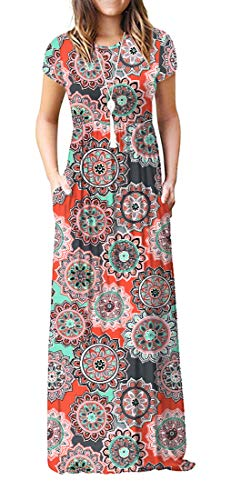 VIISHOW Women's Short Sleeve Floral Print Scoop Neck Loose Plain Maxi Dresses Casual Long Dresses with Pockets(Round Floral Orange M)