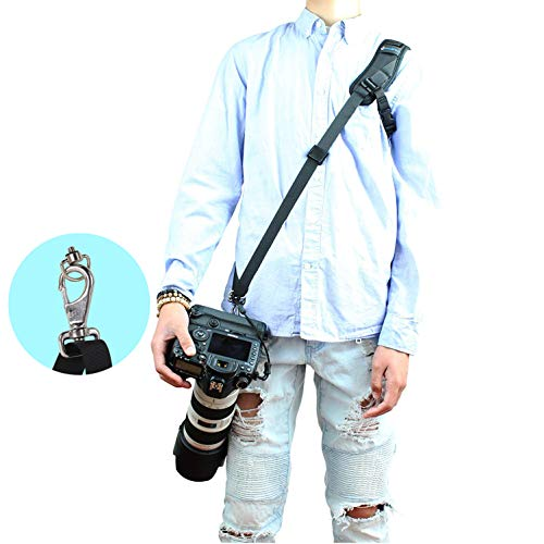 Foto&Tech DSLR Camera Strap,Camera Neck Strap with Quick Release & Safety Tether,Adjustable Padded Camera Shoulder Sling Strap for Women/Men Compatible with Nikon Canon Sony Olympus Fujifilm – Black