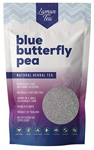 Blaue Klitorie Pulver (blue butterfly pea powder) Premium Qualität (A+) 100% rein und vegan - Ideal geeignet für Gin Hersteller, Bars, Coffee Shops und Restaurants! - 250g