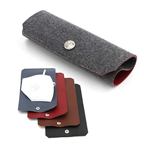 MUNDSCHUTZ-ETUI, FFP2-Maskenschutz Aufbewahrung / Hygiene Masken-Tasche / Wiederverwendbares Masken-Etui / Leder-Etui / zum Schutz vor Verschmutzung der FFP2 Maske /Hochwertiges Kunstleder (rot)