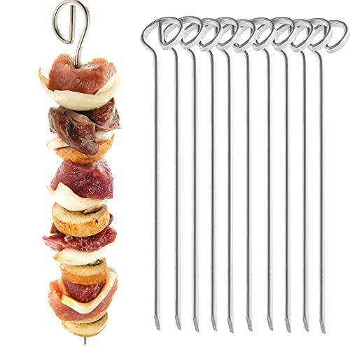 Grillspieße 10er Set - 21 cm Schaschlikspieße aus Edelstahl - Grill-Hochgenuss für alle Fleischfans und Vegetarier - Fleischspieße, Made in Germany
