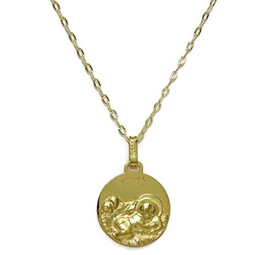 Never Say Never Medalla para bebé de Oro Amarillo de 18Kts de 14mm con Cadena estriada Italiana de Oro Amarillo de 18Kts.40cm