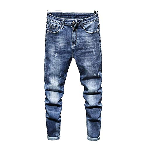 Men's Jeans Spring Korean Fashion Casual All-Match Slim Stretch Solid Color 36